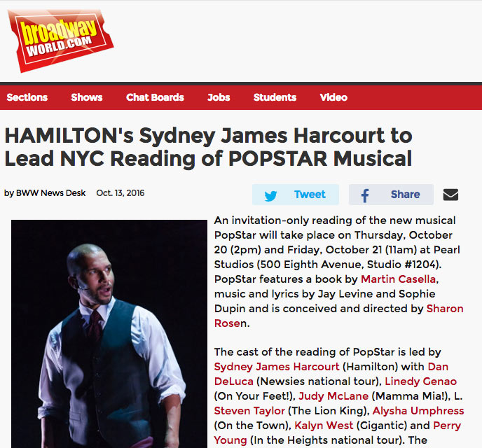 Press popstar musical hamiltons sydney james harcourt to lead nyc reading of popstar musical stopboris Image collections